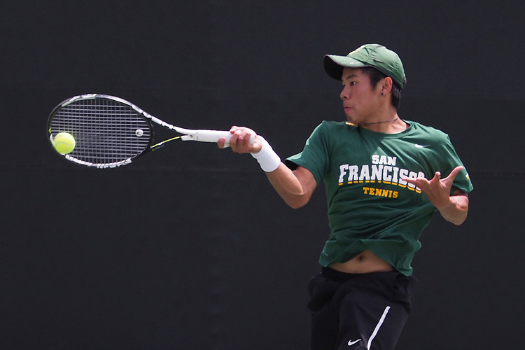 April 27, 2017; Claremont, CA, USA; San Francisco Dons player Woravin Kumthonkittitul during the WCC Tennis Championships at Biszantz Family Tennis Center.