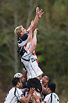 Andrew Van der Heijden competes with Bryn Evans for lineout ball. Air New Zealand Cup Rugby game between Counties Manukau & Hawkes Bay, played at Growers Stadium Pukekohe on Sunday 14th of September 2008.