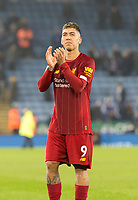 26th December 2019; King Power Stadium, Leicester, Midlands, England; English Premier League Football, Leicester City versus Liverpool; Roberto Firmino of Liverpool clapping to thank the Liverpool supporters after the match - Strictly Editorial Use Only. No use with unauthorized audio, video, data, fixture lists, club/league logos or 'live' services. Online in-match use limited to 120 images, no video emulation. No use in betting, games or single club/league/player publications