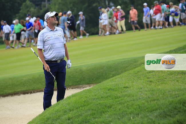 Marc Leishman (AUS) in a bunker at the 9th green during Friday's Round 1 of the 2016 U.S. Open Championship held at Oakmont Country Club, Oakmont, Pittsburgh, Pennsylvania, United States of America. 17th June 2016.<br /> Picture: Eoin Clarke | Golffile<br /> <br /> <br /> All photos usage must carry mandatory copyright credit (&copy; Golffile | Eoin Clarke)