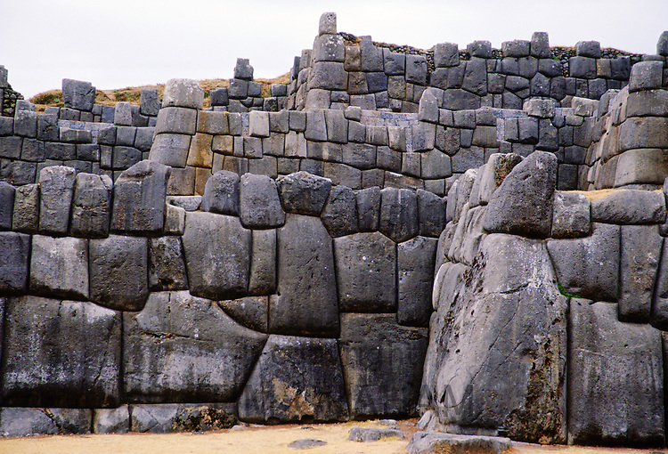 Stone walls of Sacsayhuaman above Cusco in Peru, South America