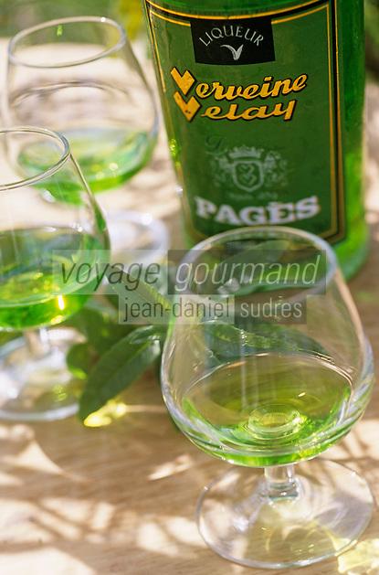 Europe/France/Auvergne/43/Haute-Loire/Le Puy-en-Velay: Verveine du Velay à la distillerie Pagès (verveine du Velay), RN88, Sortie Zl Blavozy - Verre et bouteille de vervaine du Velay //  France, Haute Loire, Le Puy en Velay, RN88, exit Zl Blavozy, Pages Distillery, Velay verbena, glass and bottle of Velay Verbena