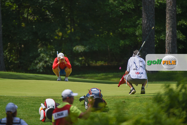 Carlota Ciganda (ESP) lines up her putt on 1 during round 3 of the U.S. Women's Open Championship, Shoal Creek Country Club, at Birmingham, Alabama, USA. 6/2/2018.<br /> Picture: Golffile | Ken Murray<br /> <br /> All photo usage must carry mandatory copyright credit (© Golffile | Ken Murray)