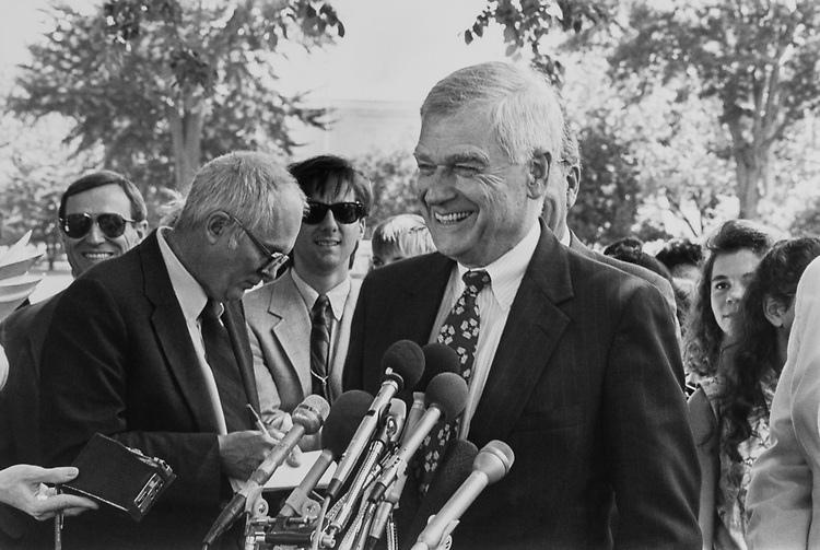 Sen. Mark Hatfield, R-Ore. at press conference on the motor-voter bill. May 21, 1992. (Photo by Chris Ayers/CQ Roll Call)