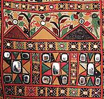 RARE MUSEUM QUALITY DHANIYO WALL PANEL WITH MIRRORWORK & EMBROIDERY - RJPUT TRIBE, KUTCH GUJARAT