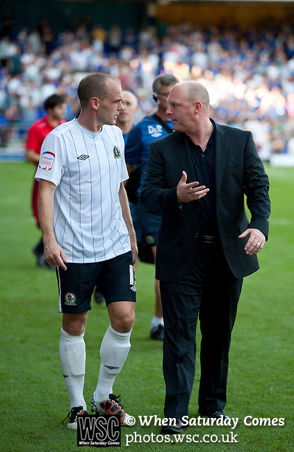 Ipswich Town 1 Blackburn Rovers 1, 18/08/2012. Portman Road, Championship. Blackburn visit Suffolk for their first game back in the Championship. Steve Kean speaks to Danny Murphy. Photo by Simon Gill.