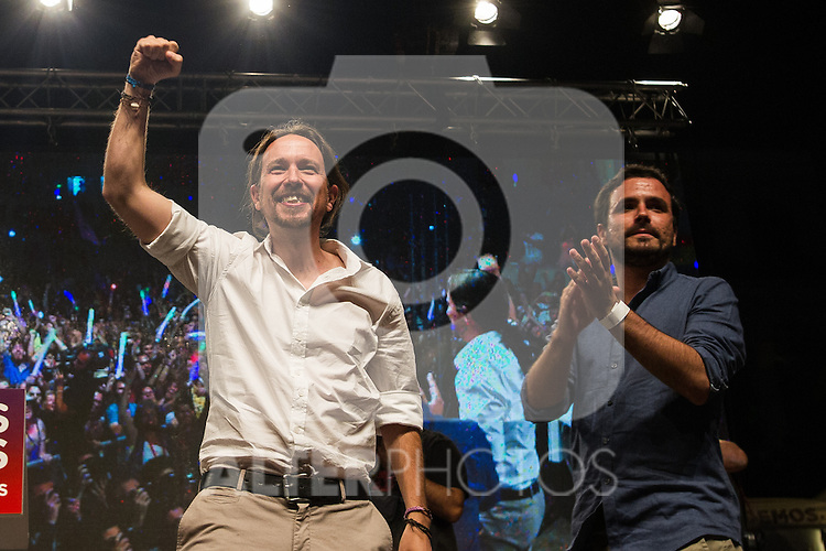 Spanish politician Pablo Iglesias and Alberto Garzon of Unidos Podemos party, after the results of the national elections at plaza Reina Sofia, Spain. 26,06,2016. (ALTERPHOTOS/Rodrigo Jimenez)