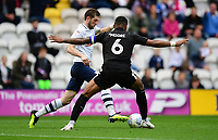Preston North End's Tom Barkhuizen vies for possession with Reading's Liam Moore<br /> <br /> Photographer Chris Vaughan/CameraSport<br /> <br /> The EFL Sky Bet Championship - Preston North End v Reading - Saturday 15th September 2018 - Deepdale - Preston<br /> <br /> World Copyright &copy; 2018 CameraSport. All rights reserved. 43 Linden Ave. Countesthorpe. Leicester. England. LE8 5PG - Tel: +44 (0) 116 277 4147 - admin@camerasport.com - www.camerasport.com