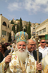 Israel, Kyriakos the Metropolitan of Nazareth leads the Greek Orthodox Annunciation Day procession