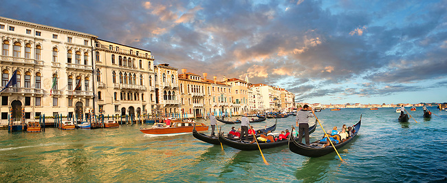 Venice gondola trip on the venetian grand canal at sunset