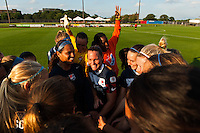 Sky Blue FC players huddle before the match. Sky Blue FC defeated the Washington Spirit 1-0 during a National Women's Soccer League (NWSL) match at Yurcak Field in Piscataway, NJ, on August 3, 2013.