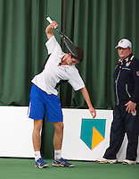 18-01-14,Netherlands, Rotterdam,  TC Victoria, Wildcard Tournament,   Ton Smit (NED) wants to throw his racket out of frustration<br /> Photo: Henk Koster