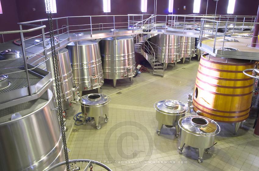Fermentation tanks. Chateau Malartic Lagraviere, Pessac Leognan, Graves, Bordeaux, France