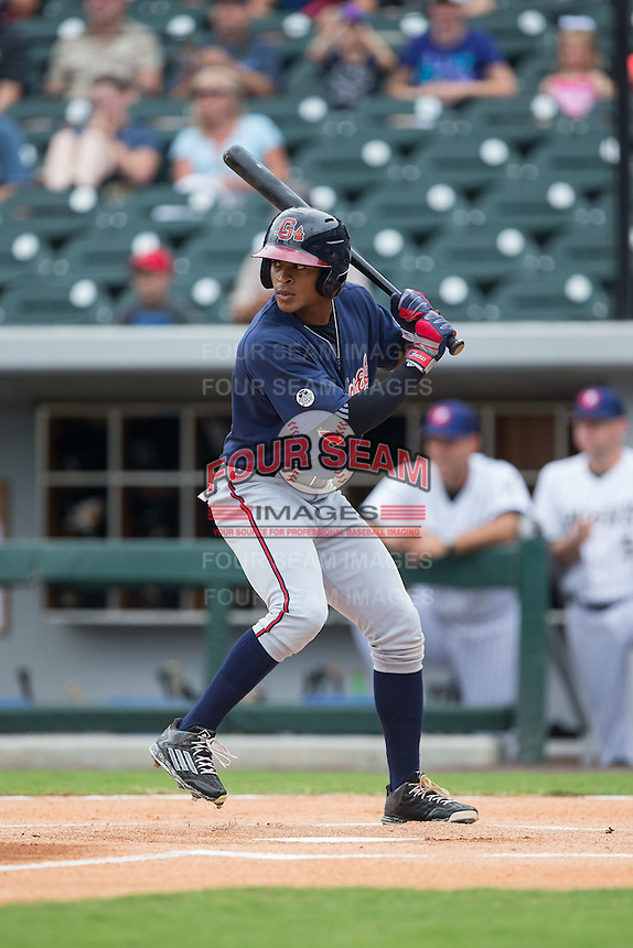 Mallex Smith (8) of the Gwinnett Braves at bat against the Charlotte Knights at BB&T BallPark on July 3, 2015 in Charlotte, North Carolina.  The Braves defeated the Knights 11-4 in game one of a day-night double header.  (Brian Westerholt/Four Seam Images)