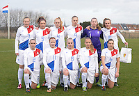 20140209 - TUBIZE , BELGIUM : Dutch team pictured with Lucie Akkerman (3) , Danielle Kuikstra (5) , Danique Kerkdijk (4) , Elze Huls (9) , Renate Verhoeven (1) , Jill Roord (10) , Corine Peels (2) ,  Simone Kets (11) ,  Inessa Kaagman (8) , Tiny Hoekstra (7) and Kim Mourmans (6) during a friendly soccer match between the Under 19 ( U19) women teams of Belgium and The Netherlands , Sunday 9 February 2014 in Tubize . PHOTO DAVID CATRY