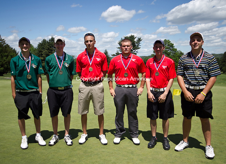 Watertown, CT-02 June 2011-060211JH10- All NVL team, Jay Hogan of Holy Cross, Jeff Hogan of Holy Cross, Henry Gargano of Wolcott, T.J Staples of Wolcott, Chris Cantania of Wolcott, Matt Jandereau of St. Paul during the NVL golf championships in Watertown Golf Club Thursday in Watertown.   Junfu Han Republican-American
