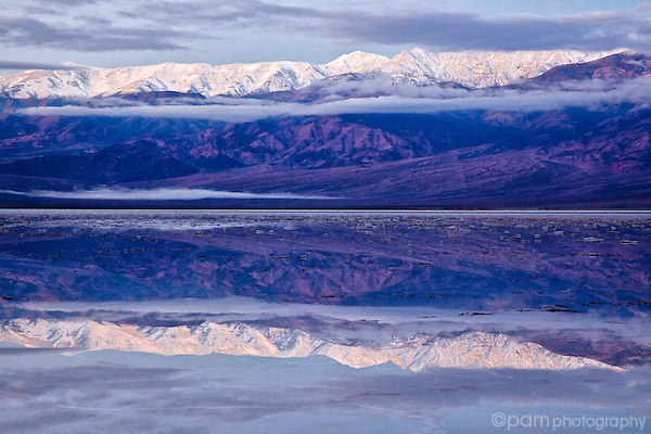 Reflection of the Panamint Range in Badwater, Death Valley, California