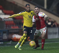 Oxford United's Jordan Graham holds off the challenge from Fleetwood Town's Lewis Coyle<br /> <br /> Photographer Rich Linley/CameraSport<br /> <br /> The EFL Sky Bet League One - Fleetwood Town v Oxford United - Saturday 12th January 2019 - Highbury Stadium - Fleetwood<br /> <br /> World Copyright &copy; 2019 CameraSport. All rights reserved. 43 Linden Ave. Countesthorpe. Leicester. England. LE8 5PG - Tel: +44 (0) 116 277 4147 - admin@camerasport.com - www.camerasport.com