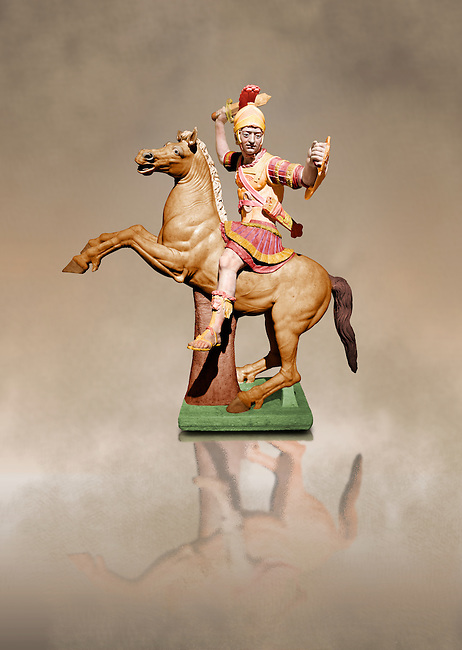 Painted colour verion of Roman marble sculpture of a warrior on horseback, a 2nd century AD copy from an original 2nd century BC Hellanistic Greek original, inv 6405, Naples Museum of Archaeology, Italy