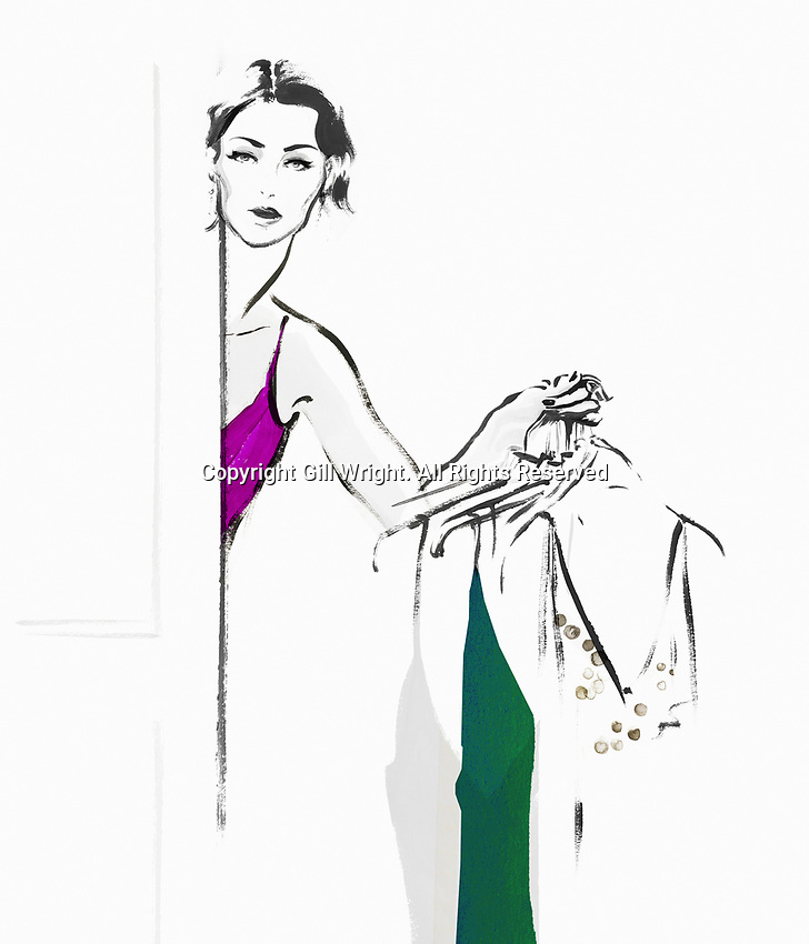 Portrait of woman trying on dressesExclusiveImage