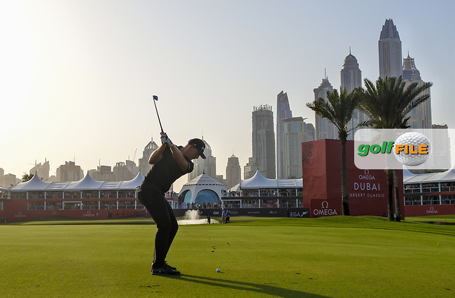Matt Wallace (ENG) on the 18th fairway during Round 4 of the Omega Dubai Desert Classic, Emirates Golf Club, Dubai,  United Arab Emirates. 27/01/2019<br /> Picture: Golffile | Thos Caffrey<br /> <br /> <br /> All photo usage must carry mandatory copyright credit (&copy; Golffile | Thos Caffrey)