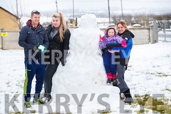 Chris O'Callaghan, Alison Daly, Carrie Cunningham and Samantha O'Callaghan having fun in the snow in Abbeydorney on Friday.