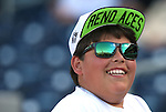 An unidentified Reno Aces fan watches the action before a game in Reno, Nev., on Saturday, April 18, 2015.<br /> Photo by Cathleen Allison