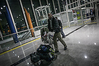 Dimitri Bontinck, a 39 years old belgium arrives at Hatay airport as he heads towards Syria in his attemp to find out his son, a youth belgium who has turned himself into a Islamic fighter who is battling Syrian government army beside radical Muslim groups at the northern of Syria.
