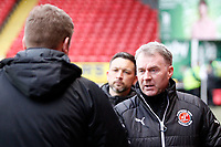 Fleetwood Town manager, John Sheridan greets Charlton manager, Karl Robinson during the Sky Bet League 1 match between Charlton Athletic and Fleetwood Town at The Valley, London, England on 17 March 2018. Photo by Carlton Myrie.