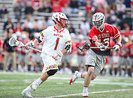 College Park, MD - April 22, 2018: Maryland Terrapins Connor Kelly (1) takes a shot during game between Ohio St. and Maryland at  Capital One Field at Maryland Stadium in College Park, MD.  (Photo by Elliott Brown/Media Images International)