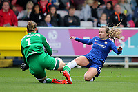 Liverpool Ladies goalkeeper, Siobhan Chamberlain, makes a fine save at the feet of Chelsea's Erin Cuthbert during Chelsea Ladies vs Liverpool Ladies, FA Women's Super League FA WSL1 Football at Kingsmeadow on 7th October 2017