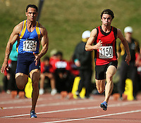 Otago's Chris Donaldson and Canterbury's David Ambler compete in the men's 100m final during the National athletics championships at Newtown Park, Wellington, New Zealand on Friday, 27 March 2009. Photo: Dave Lintott / lintottphoto.co.nz