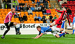St Johnstone v St Mirren...20.09.11   Scottish Communities League Cup Third Round.Jamie Adams heads into his own net for an own goal.Picture by Graeme Hart..Copyright Perthshire Picture Agency.Tel: 01738 623350  Mobile: 07990 594431
