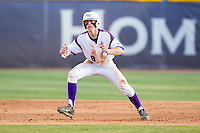 Chris Clare (9) of the High Point Panthers takes his lead off of second base against the Coastal Carolina Chanticleers at Willard Stadium on March 14, 2014 in High Point, North Carolina.  The Panthers defeated the Chanticleers 3-0.  (Brian Westerholt/Four Seam Images)