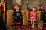 Prince Felipe of Spain and Princess Letizia of Spain attend the `Principe de Viana´ award at San Salvador de Leyre monastery in Leyre, Spain. This is their first official performance after King Juan Carlos of Spain abdication last monday. June 04, 2013. (ALTERPHOTOS/Pool)