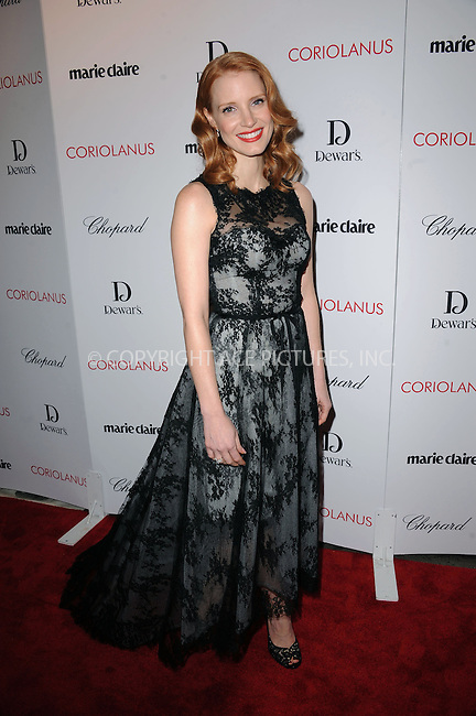 "WWW.ACEPIXS.COM . . . . . .January 17, 2012, New York City....Jessica Chastain attends Chopard & Dewar's New York Premiere of The Weinstein Company's ""Coriolanus"" at the  Paris Theatre on  January 17, 2012  in New York City ....Please byline: KRISTIN CALLAHAN - ACEPIXS.COM.. . . . . . ..Ace Pictures, Inc: ..tel: (212) 243 8787 or (646) 769 0430..e-mail: info@acepixs.com..web: http://www.acepixs.com ."