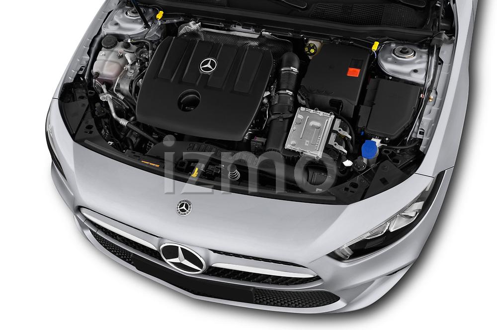 Car stock 2019 Mercedes Benz A Class Progressive 5 Door Hatchback engine high angle detail view