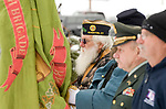 WINSTED, CT-121617JS07---Norm Hawley, a member of the American Legion Post 159 in Riverton, and member of the Color Guard, stands with fellow color guard members during the Wreaths Across America ceremony Saturday at Forest View Cemetery in Winsted. The event was hosted by the Brooks-Green Woods Chapter of the National Society Daughters of the American Revolution.  <br /> Jim Shannon Republican-American