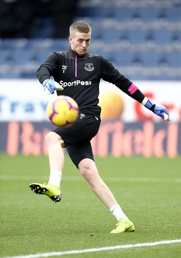 Everton's Jordan Pickford during the pre-match warm-up <br /> <br /> Photographer Rich Linley/CameraSport<br /> <br /> The Premier League - Burnley v Everton - Wednesday 26th December 2018 - Turf Moor - Burnley<br /> <br /> World Copyright © 2018 CameraSport. All rights reserved. 43 Linden Ave. Countesthorpe. Leicester. England. LE8 5PG - Tel: +44 (0) 116 277 4147 - admin@camerasport.com - www.camerasport.com