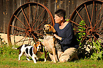 Dianne Wheeland with beagle and tick hound.