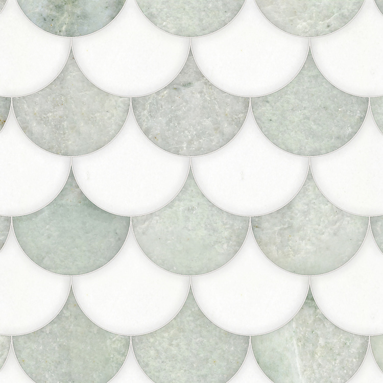Mermaid Scales, a waterjet stone mosaic, shown in polished Thassos and Ming Green, is part of the Semplice® collection for New Ravenna.