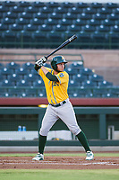 AZL Athletics right fielder Enrry Pantoja (16) bats during a game against the AZL Giants on August 5, 2017 at Scottsdale Stadium in Scottsdale, Arizona. AZL Athletics defeated the AZL Giants 2-1. (Zachary Lucy/Four Seam Images)