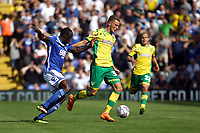 Dennis Srbeny of Norwich City under pressure from Cheick Ndoye of Birmingham City during Birmingham City vs Norwich City, Sky Bet EFL Championship Football at St Andrews on 4th August 2018