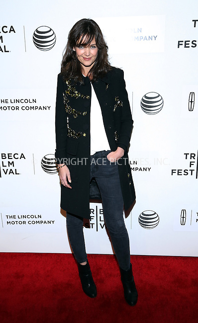 WWW.ACEPIXS.COM<br /> <br /> July 20 2014, New York City<br /> <br /> Actress Katie Holmes attends the 'Boulevard' Premiere during the 2014 Tribeca Film Festival at BMCC Tribeca PAC on April 20, 2014 in New York City.<br /> <br /> <br /> By Line: AO Images/ACE Pictures<br /> <br /> <br /> ACE Pictures, Inc.<br /> tel: 646 769 0430<br /> Email: info@acepixs.com<br /> www.acepixs.com
