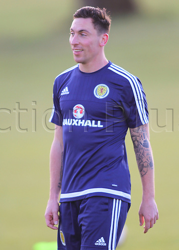 28.03.2016. Mar Hall, Glasgow, Scotland. International Football Scotland Training and Media Event. Scott Brown is all smiles during training