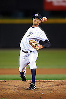Empire State Yankees pitcher Kelvin Perez #13 during game four of a best of five playoff series against the Pawtucket Red Sox at Frontier Field on September 8, 2012 in Rochester, New York.  Pawtucket defeated Empire State 7-1 to advance to the International League Finals.  (Mike Janes/Four Seam Images)