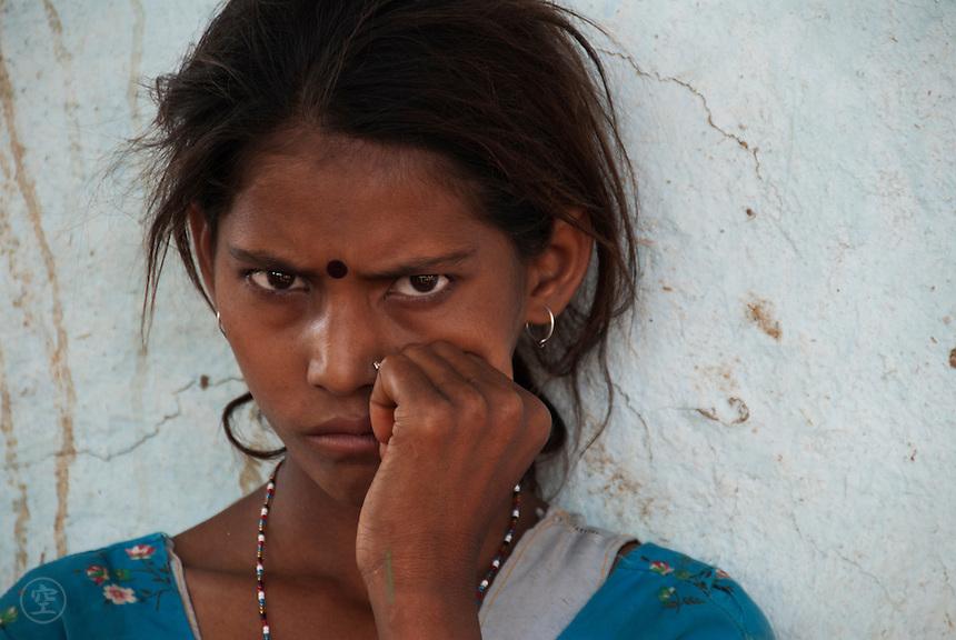 A suspicious Indian girl at a tribal village near Gwalior.