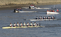 Mortlake/Chiswick, GREATER LONDON. United Kingdom. 2017 Women's Boat Race winners CUWBC, take an early lead ofter OUWBC crabbed at the start, The Championship Course, Putney to Mortlake on the River Thames.<br /> <br /> <br /> Sunday  02/04/2017<br /> <br /> [Mandatory Credit; Intersport Images]