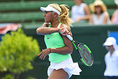 11th January 2018,  Kooyong Lawn Tennis Club, Kooyong, Melbourne, Australia; Priceline Pharmacy Kooyong Classic tennis tournament; Destanee Aiava of Australia returns the ball to Eugenie Bouchard of Canada