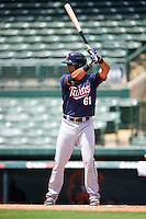 GCL Twins designated hitter Dominic Blanco (61) at bat during a game against the GCL Orioles on August 11, 2016 at the Ed Smith Stadium in Sarasota, Florida.  GCL Twins defeated GCL Orioles 4-3.  (Mike Janes/Four Seam Images)